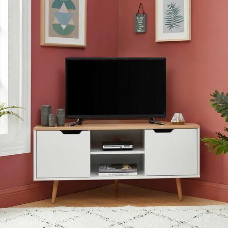 lyna meuble tv d angle decor blanc et chene style industriel l 115 x p 55 x h 53 5cm