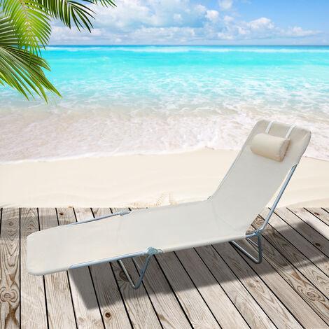 chaise longue pliante bain de soleil inclinable transat textilene lit jardin plage 182l x 56l x 24 5h cm beige beige