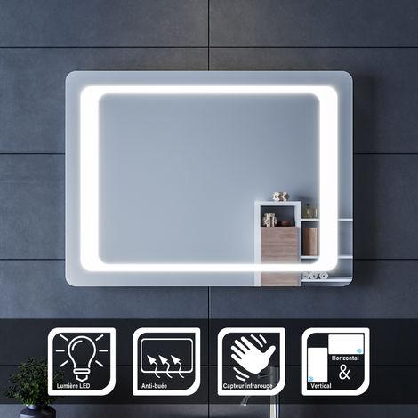 Miroir Anti Buee Excellence 120x80 Cm Eclairage Integre A Led Interrupteur Sensitif Loupe Et Heure S02excelle120l