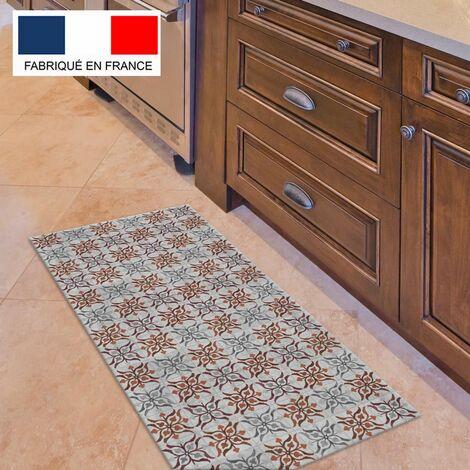 tapis cuisine en vinyle pvc tarkett 49 5x109 pour sol cuisine sous evier ou salle de bains style carreaux de ciment motif seville