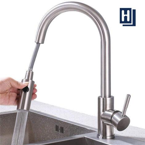 robinet de cuisine avec douchette extractible bec rotatif mitigeur d evier robinet cuisine en acier nickel brosse