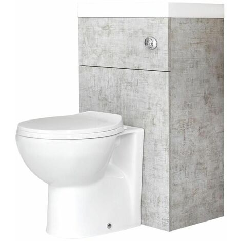 ovale toilette mit spulkasten und integriertem waschbecken steingrau