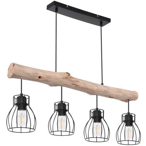 lampe de plafond design suspendue poutres de bois pendule spot salle a manger retro lampe de treillis globo 15326 4n