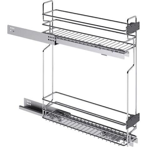 rangement coulissant etroit pour meuble bas 2 niveaux sens gauche decor chrome materiau acier hauteur 520 mm pour caisson de