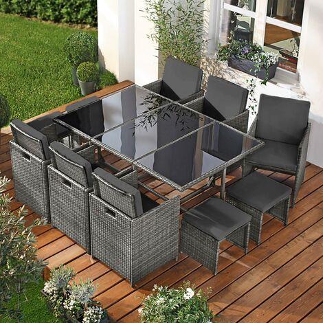 salon de jardin 11 places gris anthracite en rotin fin peu d espace elegant confortable resistant housse salon repas camouflage deluxe de brast