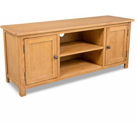 meuble tele buffet tv television design pratique 120 cm bois de chene massif bois