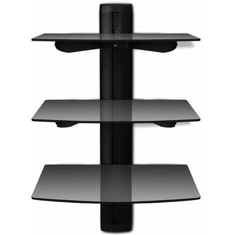 meuble tele tv television design pratique etagere murale noire a 3 tablettes en verre pour dvd noir