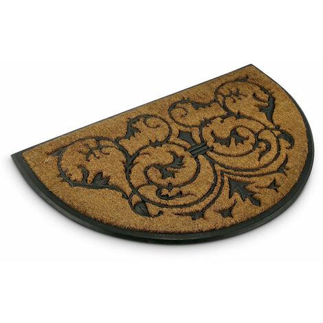 paillasson tapis porte d entree essuie pieds fibre de coco demi lune 60 x 100 cm or