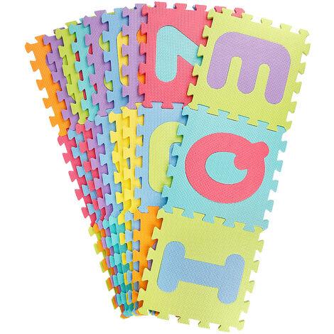 wyctin puzzle tapis mousse non toxique 36 pcs jeu educatif enfants de developpement doux tapis bebe jouer puzzle nombre lettre tapis