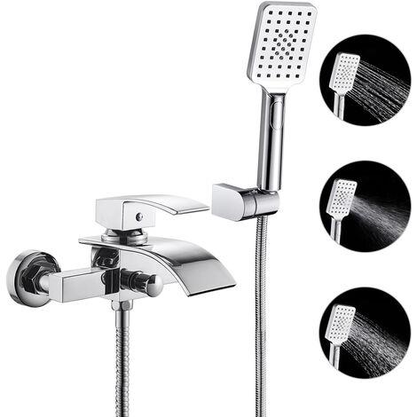 woohse robinet de douche cascade mitigeur de bain carre avec douche a main 3 jets au choix robinetterie baignoire avec support mural de douchette pour
