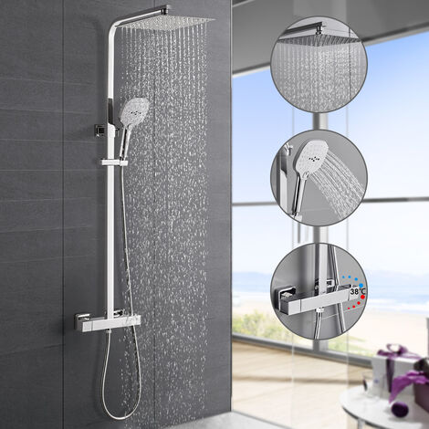 woohse colonne de douche avec mitigeur thermostatique ensemble de douche avec douche de tete inox et 3 jets douche a main systeme de douche avec
