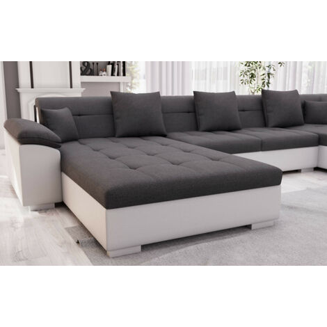 belmont canape d angle panoramique xxl en u droit couleur blanc gris blanc gris