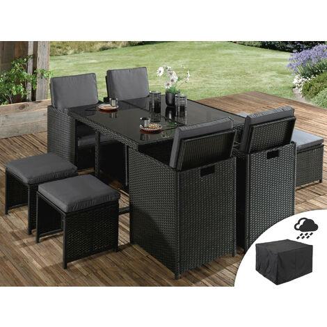 sophia salon de jardin encastrable 8 places en resine tressee noir avec coussins gris housse de protection couleur noir noir gris