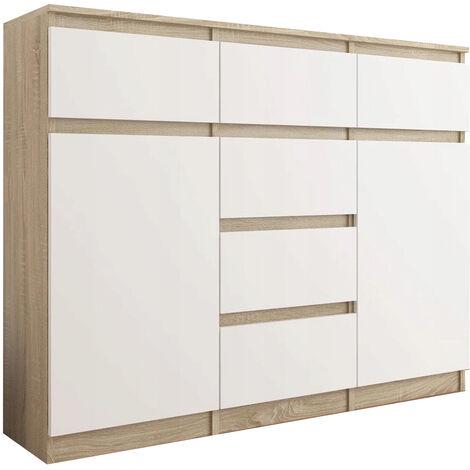 monaco commode contemporaine meuble rangement chambre salon bureau 120x40x98 cm 6 tiroirs coulissants buffet sejour sonoma blanc
