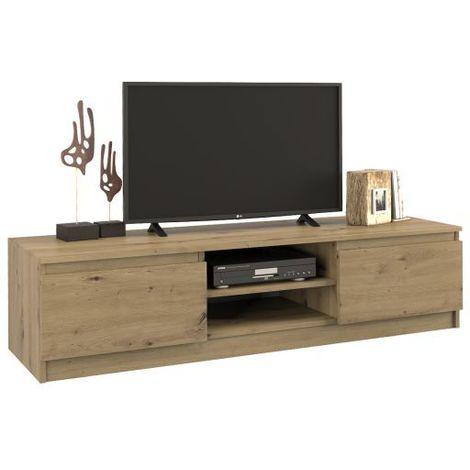 tivoli meuble bas tv contemporain 40x140x36 salon sejour 2 niches 2 portes rangement moderne materiel tele audio video chene artisan