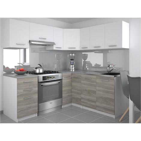 darcia cuisine complete d angle l 300 cm 9 pcs plan de travail inclus ensemble armoires cuisine blanc silver blanc silver