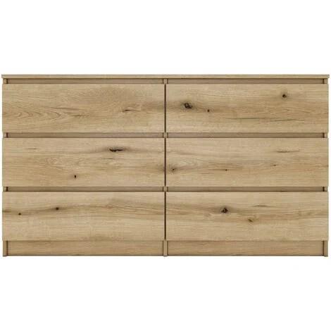aster commode chambre bureau salon 138x40x77 cm 6 tiroirs meuble de rangement style scandinave chene