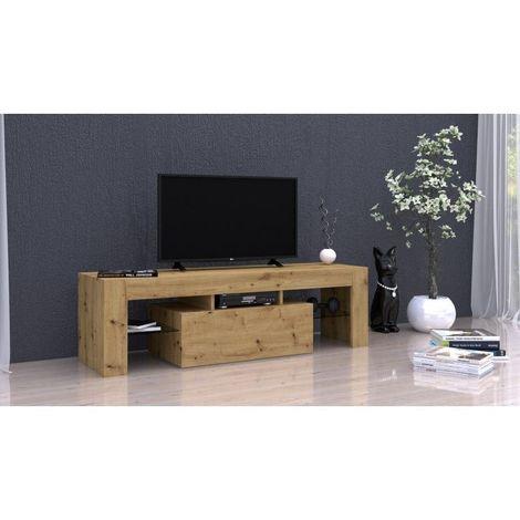 rosalie meuble tv moderne avec etageres en verre dimensions 45x140x40 rangement materiel audio video meuble television chene