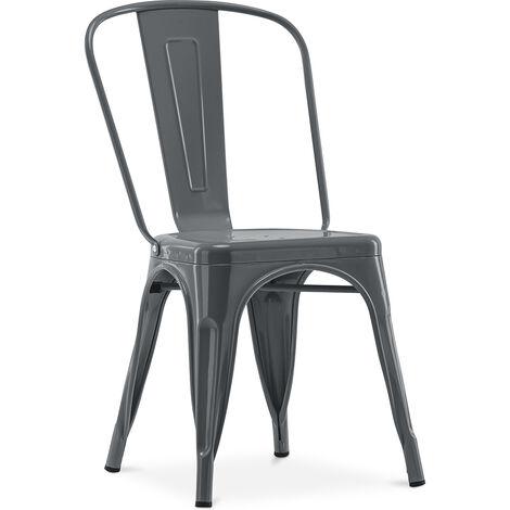 chaise style tolix 5kgs nouvelle edition metal gris fonce