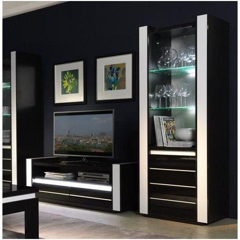 ensemble pour votre salon lina meuble tv hifi vitrine petit modele led meubles design haute brillance noir