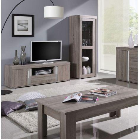 ensemble avignon pour salon meuble tv vitrine petit modele avec led marron