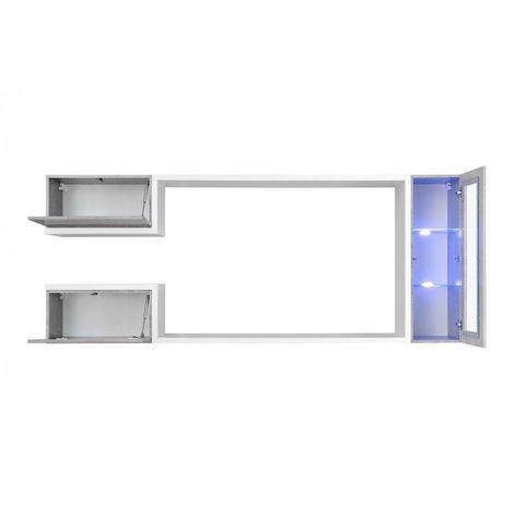 meuble tv suspendu meuble de salon complet saturne composition murale moderne et design led incluses blanc