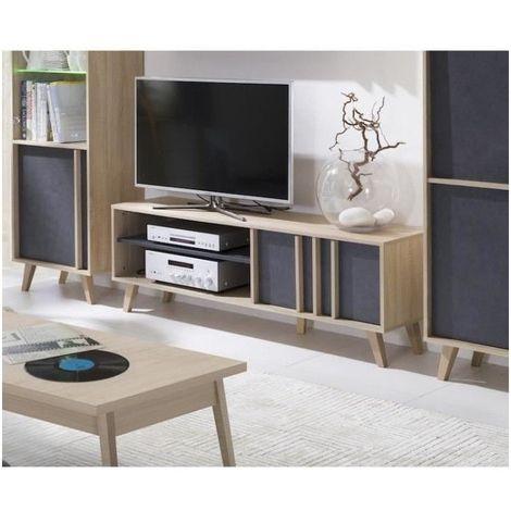 meuble tv malmo coloris chene clair gris beton meuble de salon type scandinave gris