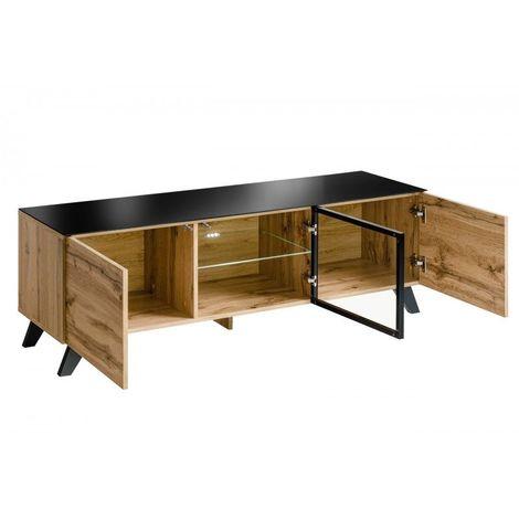 meuble tv tino ideal pour votre salon look tendance type industriel bois verre et metal marron