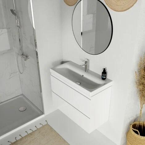meuble de salle de bain 80x37 5 cm faible profondeur blanc