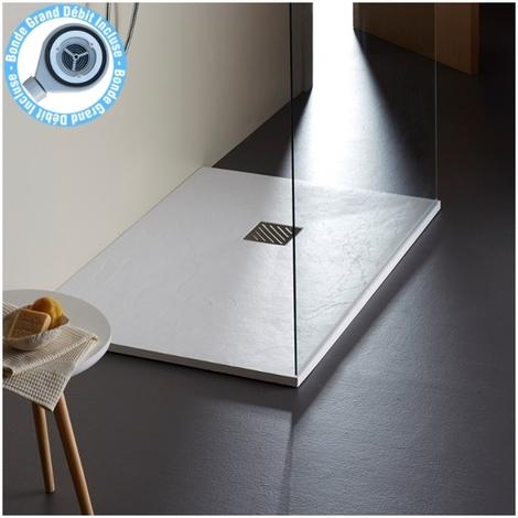 receveur extra plat 90x160 blanc grande taille reflet ardoise
