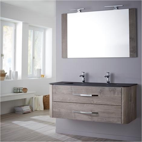 ensemble meuble de salle de bain 120 cm curve couleur chene grise
