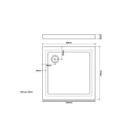 receveur de douche extra plat en gres 80x80 nf