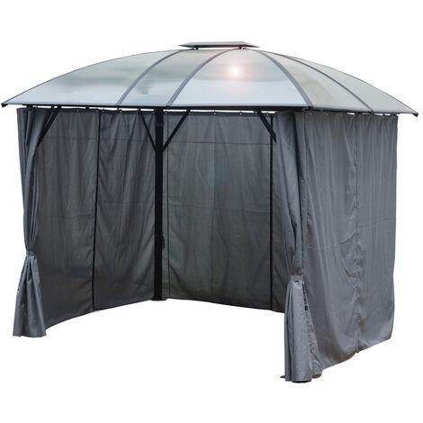 gloriette aluminium avec rideaux toit 4 pentes