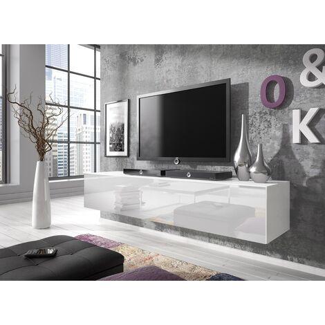 e com meuble tv armoire tele table television rocco 160 cm blanc blanco