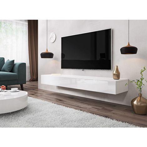 e com meuble tv armoire tele table television suspendu sierra 140 cm blanc blanco