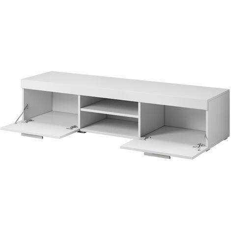 e com meuble tv paris 140 cm mat blanc et blanc brillant blanc
