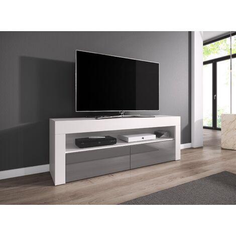 e com meuble tv armoire tele table television luna 140 cm mat blanc et gris brillant blanco