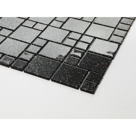 30cm x 30cm carrelage mosaique en verre noir avec des paillettes multicouleur mt0011 30cmx30cm