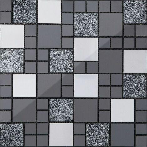 30cm x 30cm carrelage mosaique en verre et acier inoxydable noir argent mt0002