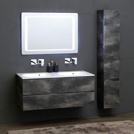meuble de salle de bains modulable avec lavabo double 120 cm