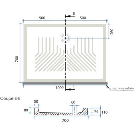 receveur de douche en ceramique rectangulaire 70x100 cm topazio