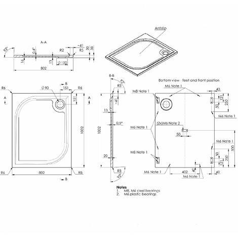 receveur de douche en resine 80x100 extra plat