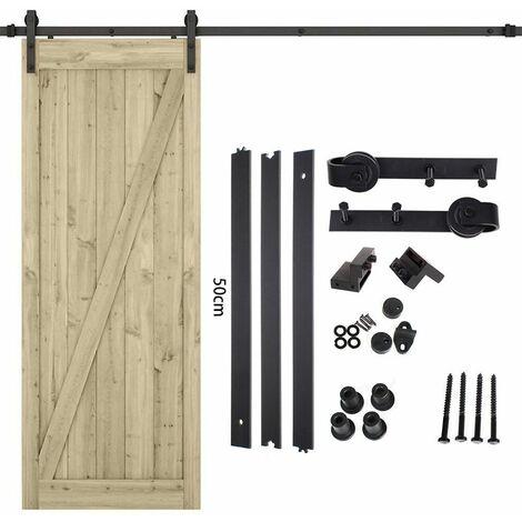 Idegu 150cm Kit De Rail Roulettes Pour Porte Coulissante Hardware Pour Une Porte Suspendue En Bois