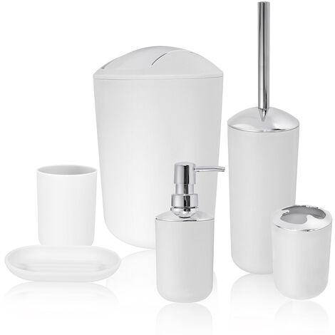 6pcs salle de bains accessoire set poubelle porte savon distributeur gobelet porte brosse a dents blanc