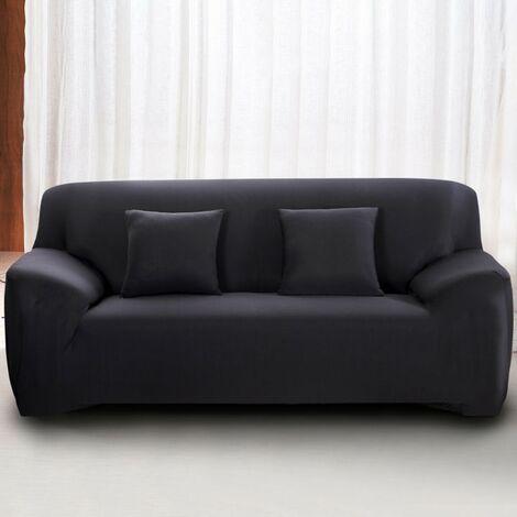 housse de canape 4 places avec accoudoir extensible revetement de canape pour salon chambre noir mondeer