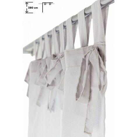 voilage 140 x 280 cm a pattes noeuds grande hauteur effet naturel uni gris clair blanc blanc