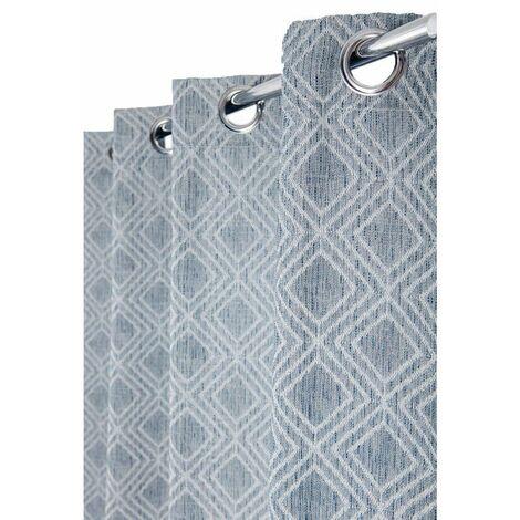 rideau tamisant 140 x 240 cm a oeillets jacquard avec motifs geometriques losanges bleu marine bleu bleu