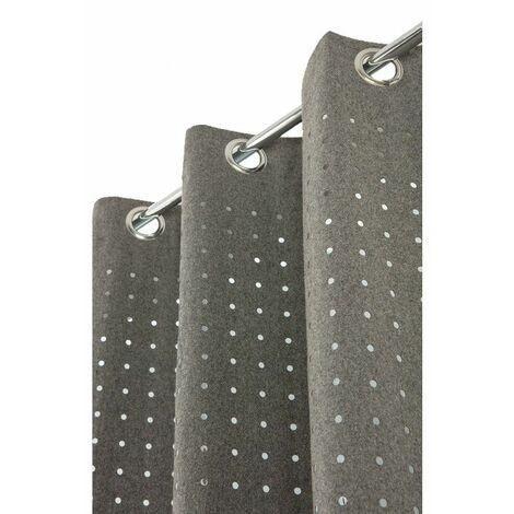 rideau 140 x 260 cm a oeillets ajoure contemporain style industriel tissu aspect feutrine motif a pois decoupe gris gris gris