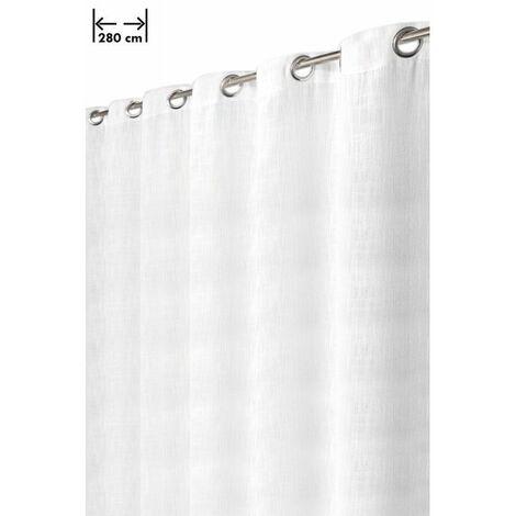 rideau 280 x 238 cm 14 oeillets aspect lin lourd grande largeur style rustique moderne blanc blanc blanc