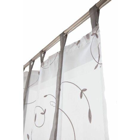 vitrage 70 x 240 cm a pattes store enrouleur avec broderies blanc gris clair blanc blanc